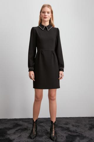 Trendyol Black Collar Detailed Dress dámské 42