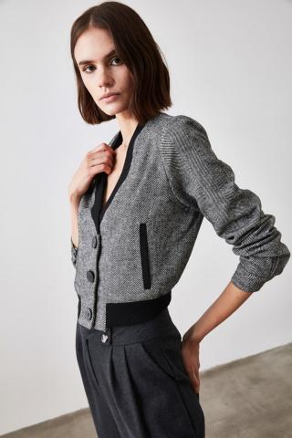 Trendyol Black Crop Jacket dámské 38