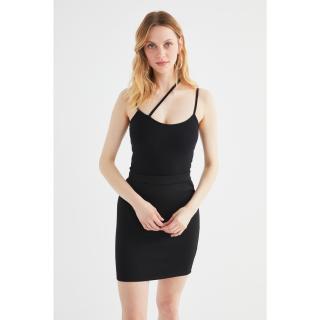 Trendyol Black Cross Strap Detailed Knitted Blouse dámské XS