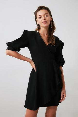 Trendyol Black Cruise Neck Dress dámské 34