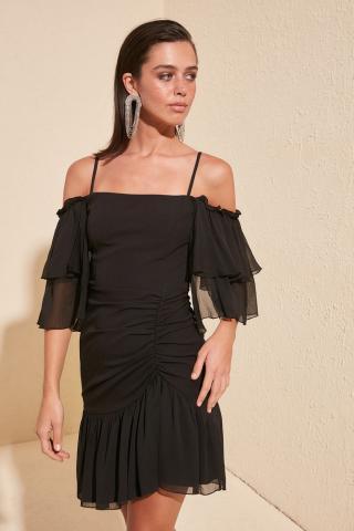 Trendyol Black Drape Detailed Dress dámské 38