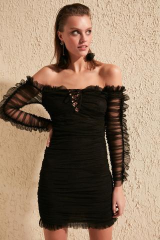 Trendyol Black Drape Tulle Dress dámské 34