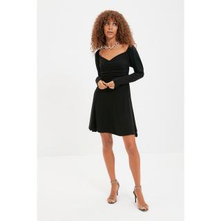 Trendyol Black Draped Detailed Dress dámské Other 34