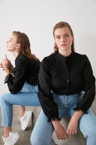 Trendyol Black Embroidered Shirt dámské 34