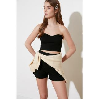 Trendyol Black Fit Bustier and Shorts Knitted Bottom-Top Tool dámské S
