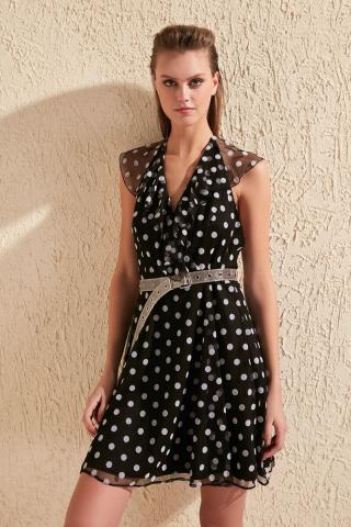 Trendyol Black Floe Printed Dress dámské 34