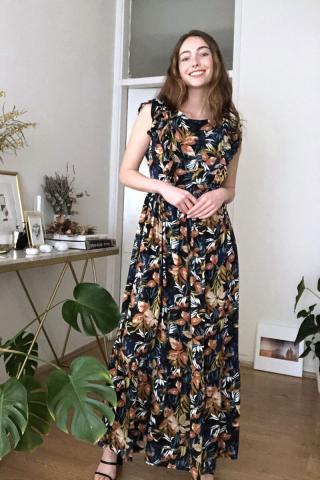 Trendyol Black Floral Patterned Frill Detailed Dress dámské 34
