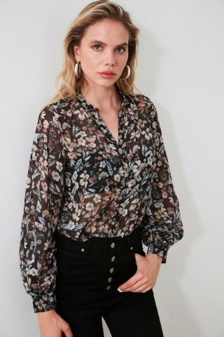 Trendyol Black Flower Shirt dámské 34