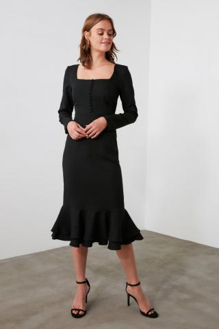 Trendyol Black Flywheel Button Detailing Dress dámské 34