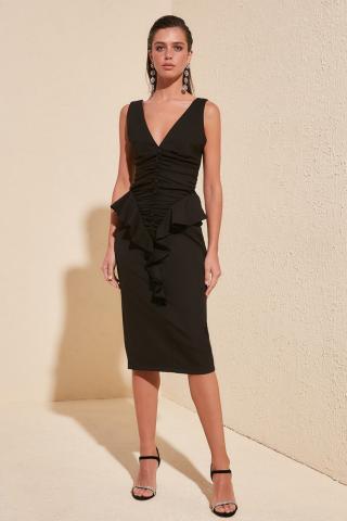 Trendyol Black Flywheel Detailed Dress dámské 42