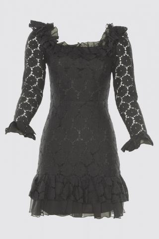 Trendyol Black Flywheel Detailed Lace Dress dámské 34
