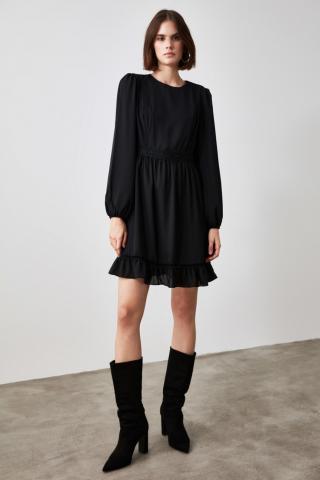 Trendyol Black Flywheel Lace Detailing Dress dámské 34