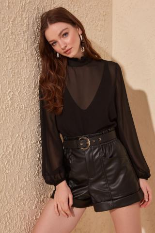 Trendyol Black Frill Detailed Blouse dámské 36
