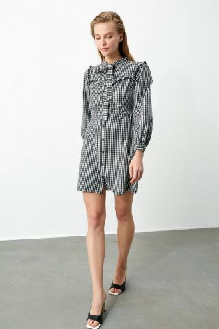 Trendyol Black Frill Detailed Shirt Dress dámské 34