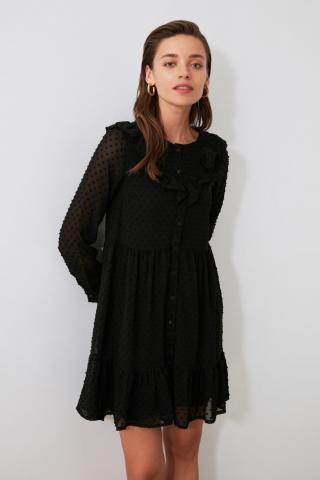 Trendyol Black Frilled Dress dámské 38