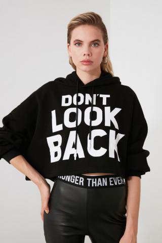 Trendyol Black Front and Back Printed Crop Knitted Sweatshirt dámské M