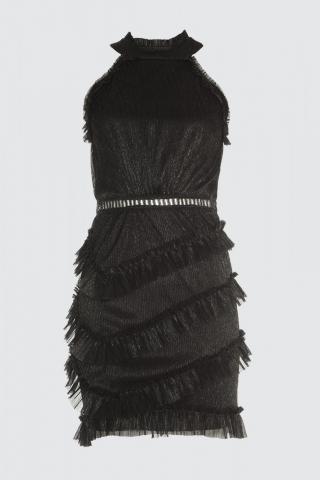 Trendyol Black GlitterRuffY Dress dámské 38