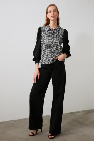 Trendyol Black Goose-Footed Shirt dámské 34
