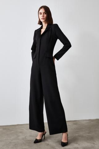 Trendyol Black Jacket Collar Jumpsuit dámské 34