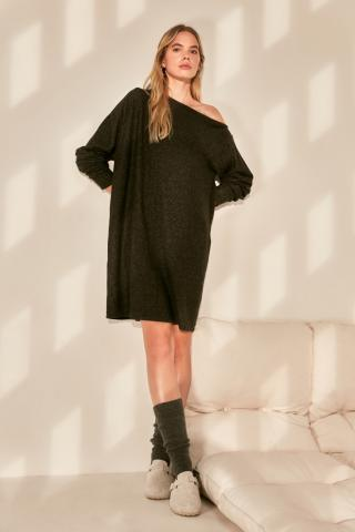 Trendyol Black Kayak Collar Yumos Knitted Dress dámské XS