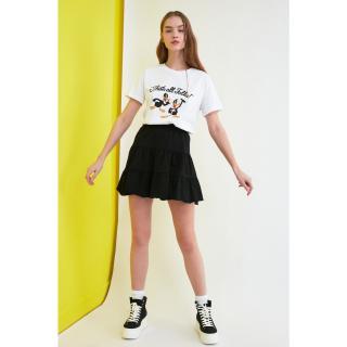 Trendyol Black Knitted Skirt dámské XS