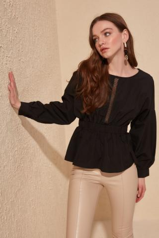 Trendyol Black Lace Detailed Blouse dámské 38