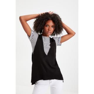 Trendyol Black Lace Detailed Knitwear Sweater dámské Other L