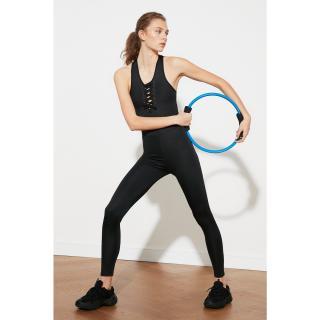 Trendyol Black Lace Detailed Sports Jumpsuit dámské S
