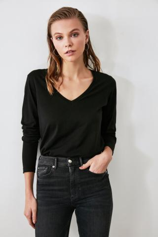 Trendyol Black Long Sleeve V Collar Basic Knitted T-Shirt dámské S