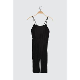 Trendyol Black Lurex Strap Sports Jumpsuit dámské S
