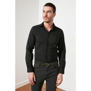 Trendyol Black Male Super Slim Fit Basic Shirt Collar Shirt S