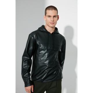 Trendyol Black Men Regular Fit Hooded PU Long Sleeve Single Pocket Shirt pánské Other S