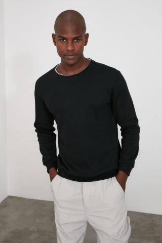 Trendyol Black Mens Bicycle Collar Regular T-Shirt pánské S