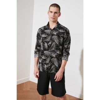 Trendyol Black Mens Regular Fit Shirt Collar Long Sleeve Patterned Cast Shirt pánské S