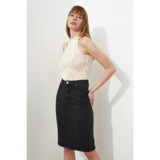 Trendyol Black Midi Denim Skirt dámské 34
