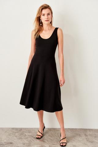 Trendyol Black Midi Knitted Dress dámské XS