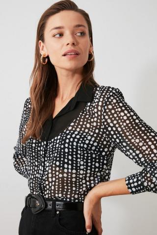 Trendyol Black Patterned Shirt dámské 34