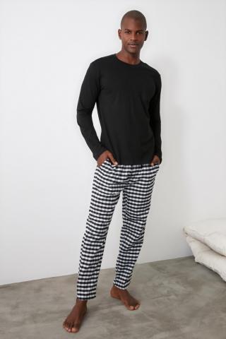 Trendyol Black Plaid Pajama Set pánské S