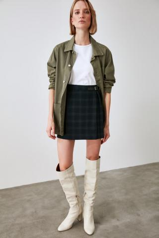 Trendyol Black Plaid Skirt dámské 36