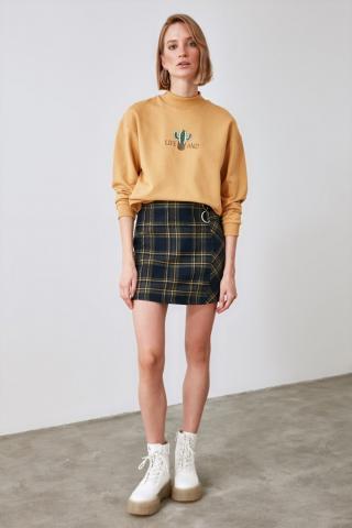 Trendyol Black Plaid Skirt dámské 38