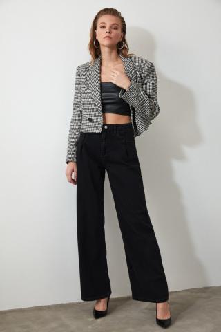 Trendyol Black Pleahigh Waist Wide Leg Jeans dámské 34