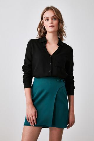 Trendyol Black Pocket Shirt dámské 34