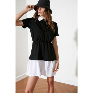 Trendyol Black Poplin Detailed Knitted Dress dámské XS