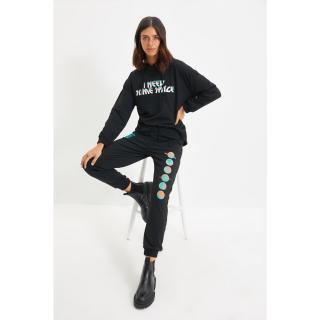 Trendyol Black Printed Basic Jogger Knitted Sweatpants dámské Other L