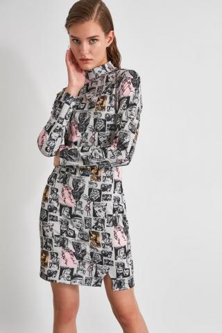 Trendyol Black Printed Bodycon Knitted Dress dámské S