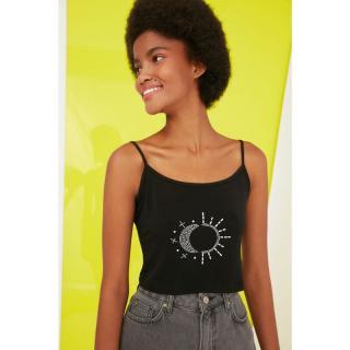 Trendyol Black Printed Crop Knitted Blouse dámské S