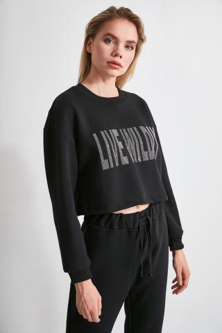 Trendyol Black Printed Crop Knitted Sweatshirt dámské XS