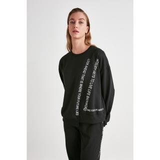 Trendyol Black Printed Knitted Sweatshirt dámské XS