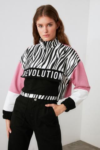 Trendyol Black Printed Knitted Tracksuit Set dámské XS