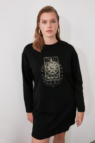 Trendyol Black Printed Mini Knitting Dress dámské XS